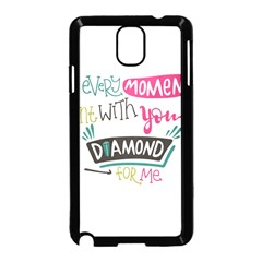 My Every Moment Spent With You Is Diamond To Me / Diamonds Hearts Lips Pattern (white) Samsung Galaxy Note 3 Neo Hardshell Case (black)