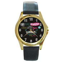 My Every Moment Spent With You Is Diamond To Me / Diamonds Hearts Lips Pattern (black) Round Gold Metal Watch by FashionFling