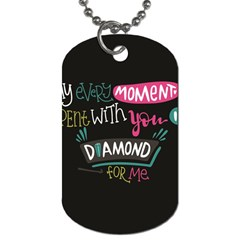 My Every Moment Spent With You Is Diamond To Me / Diamonds Hearts Lips Pattern (black) Dog Tag (two Sides) by FashionFling