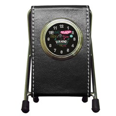 My Every Moment Spent With You Is Diamond To Me / Diamonds Hearts Lips Pattern (black) Pen Holder Desk Clocks
