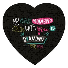 My Every Moment Spent With You Is Diamond To Me / Diamonds Hearts Lips Pattern (black) Jigsaw Puzzle (heart) by FashionFling