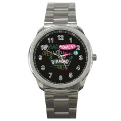 My Every Moment Spent With You Is Diamond To Me / Diamonds Hearts Lips Pattern (black) Sport Metal Watch by FashionFling
