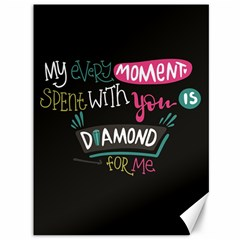 My Every Moment Spent With You Is Diamond To Me / Diamonds Hearts Lips Pattern (black) Canvas 36  X 48   by FashionFling