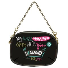 My Every Moment Spent With You Is Diamond To Me / Diamonds Hearts Lips Pattern (black) Chain Purses (two Sides)  by FashionFling