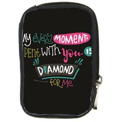 My Every Moment Spent With You Is Diamond To Me / Diamonds Hearts Lips Pattern (black) Compact Camera Cases by FashionFling