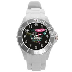 My Every Moment Spent With You Is Diamond To Me / Diamonds Hearts Lips Pattern (black) Round Plastic Sport Watch (l) by FashionFling