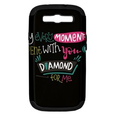 My Every Moment Spent With You Is Diamond To Me / Diamonds Hearts Lips Pattern (black) Samsung Galaxy S Iii Hardshell Case (pc+silicone) by FashionFling
