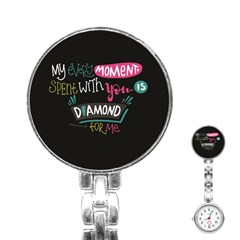 My Every Moment Spent With You Is Diamond To Me / Diamonds Hearts Lips Pattern (black) Stainless Steel Nurses Watch by FashionFling