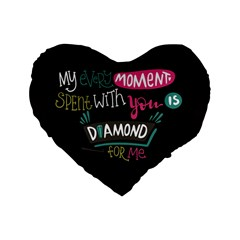 My Every Moment Spent With You Is Diamond To Me / Diamonds Hearts Lips Pattern (black) Standard 16  Premium Flano Heart Shape Cushions by FashionFling