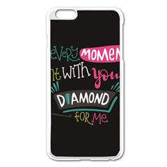 My Every Moment Spent With You Is Diamond To Me / Diamonds Hearts Lips Pattern (black) Apple Iphone 6 Plus/6s Plus Enamel White Case by FashionFling