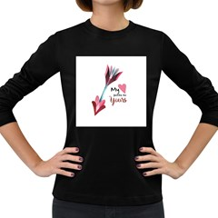 My Heart Points To Yours / Pink And Blue Cupid s Arrows (white) Women s Long Sleeve Dark T Shirts by FashionFling