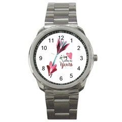 My Heart Points To Yours / Pink And Blue Cupid s Arrows (white) Sport Metal Watch by FashionFling