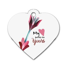 My Heart Points To Yours / Pink And Blue Cupid s Arrows (white) Dog Tag Heart (two Sides)