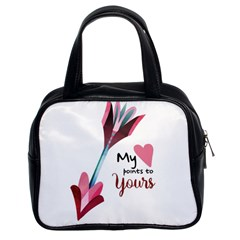 My Heart Points To Yours / Pink And Blue Cupid s Arrows (white) Classic Handbags (2 Sides) by FashionFling