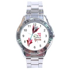 My Heart Points To Yours / Pink And Blue Cupid s Arrows (white) Stainless Steel Analogue Watch by FashionFling