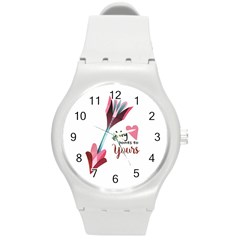 My Heart Points To Yours / Pink And Blue Cupid s Arrows (white) Round Plastic Sport Watch (m) by FashionFling