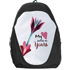My Heart Points To Yours / Pink And Blue Cupid s Arrows (white) Backpack Bag by FashionFling