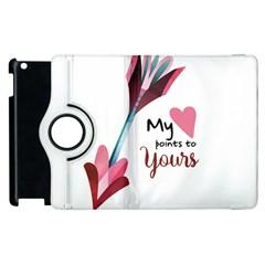 My Heart Points To Yours / Pink And Blue Cupid s Arrows (white) Apple Ipad 2 Flip 360 Case by FashionFling