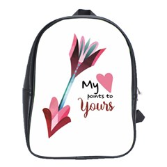 My Heart Points To Yours / Pink And Blue Cupid s Arrows (white) School Bags (xl)  by FashionFling