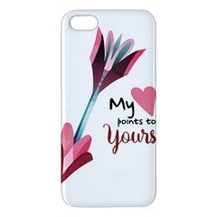 My Heart Points To Yours / Pink And Blue Cupid s Arrows (white) Apple Iphone 5 Premium Hardshell Case by FashionFling