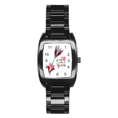 My Heart Points To Yours / Pink And Blue Cupid s Arrows (white) Stainless Steel Barrel Watch by FashionFling
