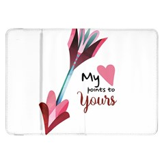 My Heart Points To Yours / Pink And Blue Cupid s Arrows (white) Samsung Galaxy Tab 8 9  P7300 Flip Case by FashionFling