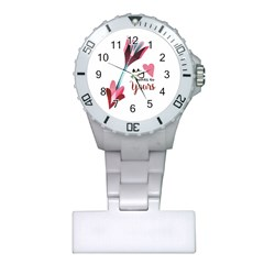 My Heart Points To Yours / Pink And Blue Cupid s Arrows (white) Plastic Nurses Watch by FashionFling