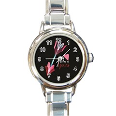 My Heart Points To Yours / Pink And Blue Cupid s Arrows (black) Round Italian Charm Watch by FashionFling