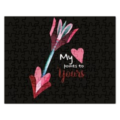 My Heart Points To Yours / Pink And Blue Cupid s Arrows (black) Rectangular Jigsaw Puzzl by FashionFling