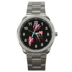 My Heart Points To Yours / Pink And Blue Cupid s Arrows (black) Sport Metal Watch by FashionFling