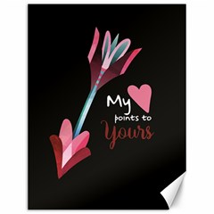 My Heart Points To Yours / Pink And Blue Cupid s Arrows (black) Canvas 12  X 16   by FashionFling