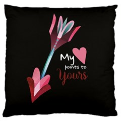 My Heart Points To Yours / Pink And Blue Cupid s Arrows (black) Large Cushion Case (one Side) by FashionFling