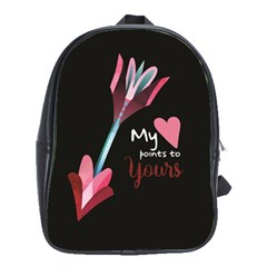 My Heart Points To Yours / Pink And Blue Cupid s Arrows (black) School Bags (xl)  by FashionFling