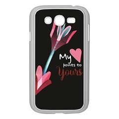 My Heart Points To Yours / Pink And Blue Cupid s Arrows (black) Samsung Galaxy Grand Duos I9082 Case (white) by FashionFling