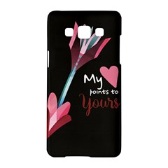 My Heart Points To Yours / Pink And Blue Cupid s Arrows (black) Samsung Galaxy A5 Hardshell Case  by FashionFling