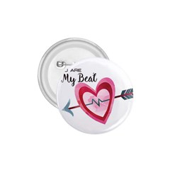 You Are My Beat / Pink And Teal Hearts Pattern (white)  1 75  Buttons by FashionFling