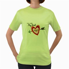 You Are My Beat / Pink And Teal Hearts Pattern (white)  Women s Green T-shirt by FashionFling