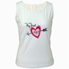 You Are My Beat / Pink And Teal Hearts Pattern (white)  Women s White Tank Top by FashionFling