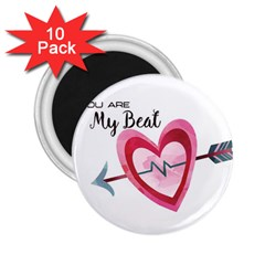 You Are My Beat / Pink And Teal Hearts Pattern (white)  2 25  Magnets (10 Pack)