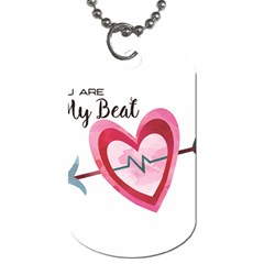 You Are My Beat / Pink And Teal Hearts Pattern (white)  Dog Tag (one Side) by FashionFling