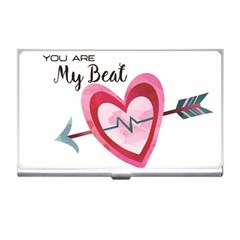 You Are My Beat / Pink And Teal Hearts Pattern (white)  Business Card Holders by FashionFling