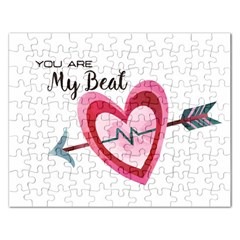 You Are My Beat / Pink And Teal Hearts Pattern (white)  Rectangular Jigsaw Puzzl by FashionFling