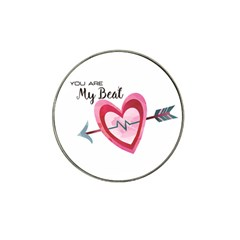 You Are My Beat / Pink And Teal Hearts Pattern (white)  Hat Clip Ball Marker (4 Pack)