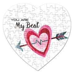 You Are My Beat / Pink And Teal Hearts Pattern (white)  Jigsaw Puzzle (heart) by FashionFling