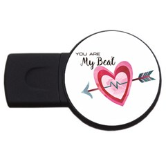 You Are My Beat / Pink And Teal Hearts Pattern (white)  Usb Flash Drive Round (4 Gb) by FashionFling