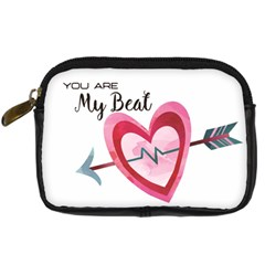 You Are My Beat / Pink And Teal Hearts Pattern (white)  Digital Camera Cases by FashionFling