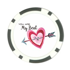 You Are My Beat / Pink And Teal Hearts Pattern (white)  Poker Chip Card Guard (10 Pack) by FashionFling