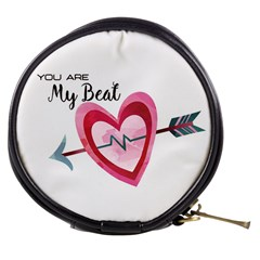 You Are My Beat / Pink And Teal Hearts Pattern (white)  Mini Makeup Bags by FashionFling