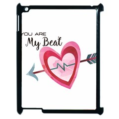 You Are My Beat / Pink And Teal Hearts Pattern (white)  Apple Ipad 2 Case (black) by FashionFling