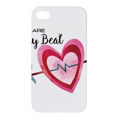 You Are My Beat / Pink And Teal Hearts Pattern (white)  Apple Iphone 4/4s Hardshell Case by FashionFling